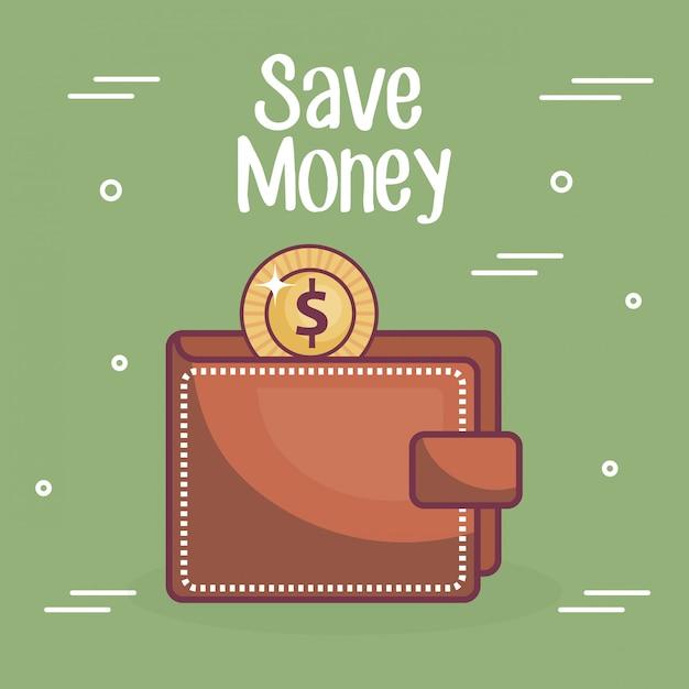 Portafoglio con moneta e denaro risparmia testo Vettore gratuito