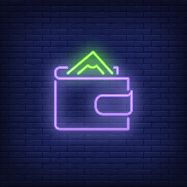 Wallet with money neon sign Free Vector