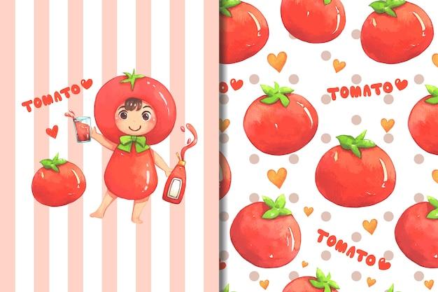 壁紙とパターン小さな女の子トマトコスチューム漫画 Premiumベクター