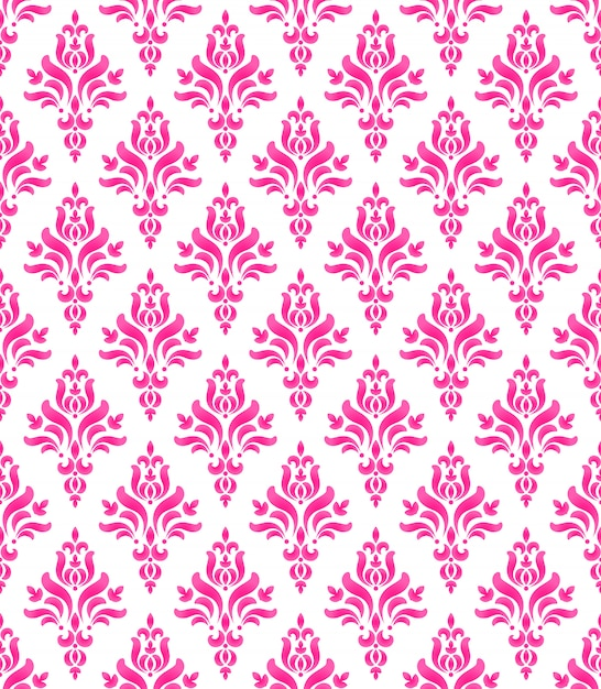 Wallpaper Classic Style Of Baroque Seamless Pink And White