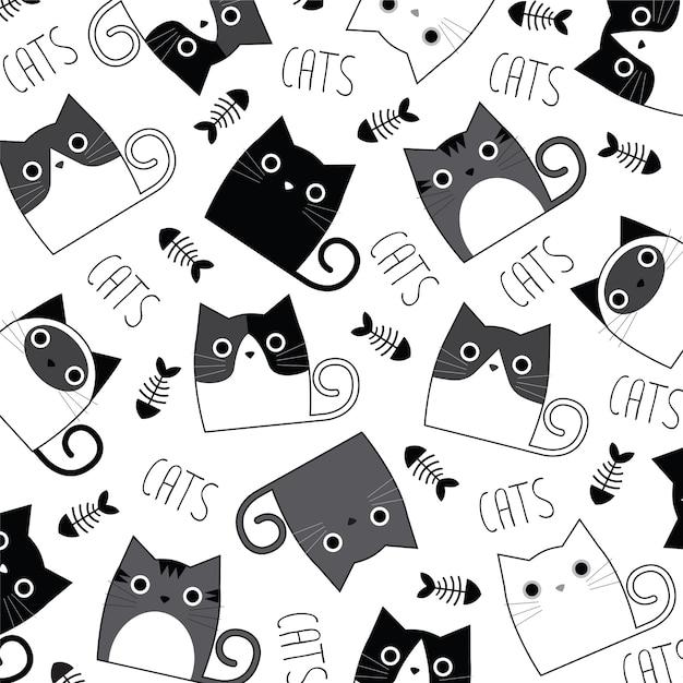 Premium Vector Wallpaper Cute Cats