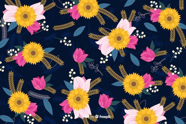 Wallpaper design with floral concept Free Vector