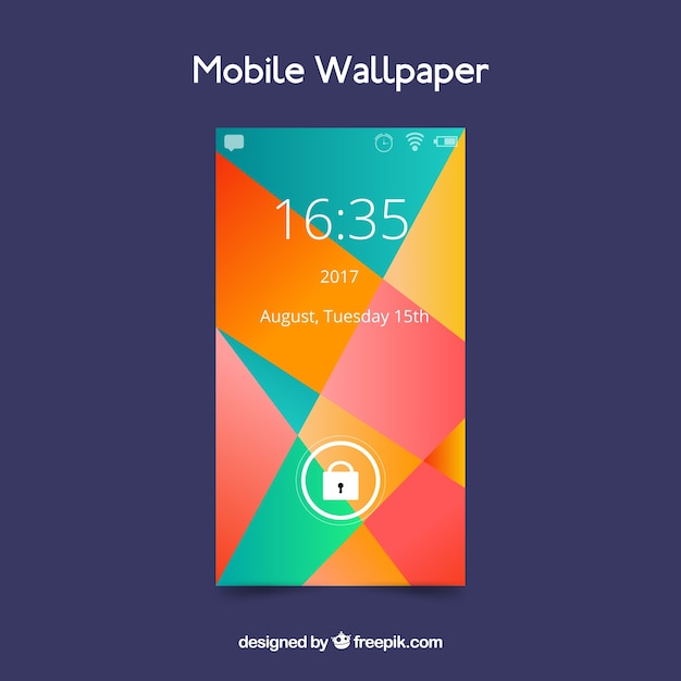 Wallpaper of abstract and colorful shapes for mobile