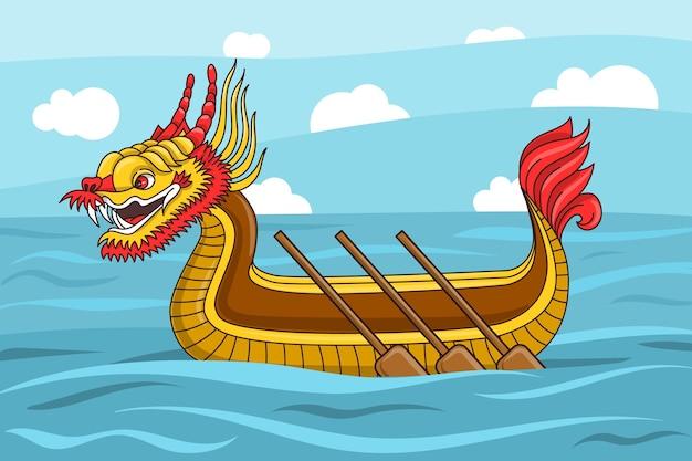 Обои с лодкой-драконом Бесплатные векторы