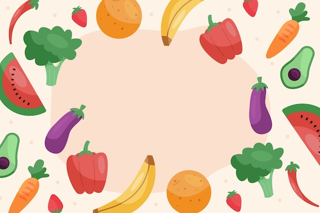 Free Vector Wallpaper With Fruits And Vegetables Design