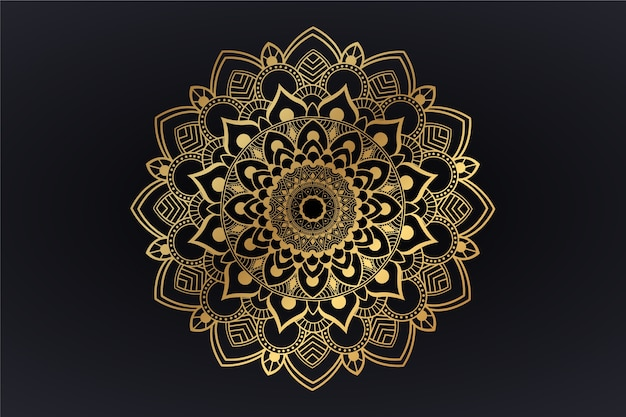 Wallpaper with luxury mandala theme Free Vector