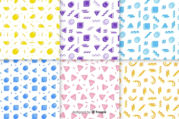Wallpaper with memphis pattern collection Free Vector