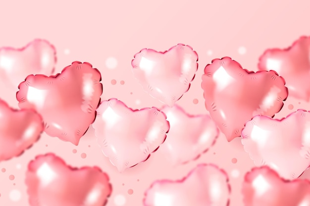 Wallpaper with pink heart shaped balloons for valentine's day Free Vector