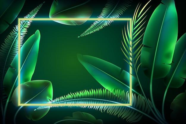 Обои с реалистичными листьями с неоновой рамкой Бесплатные векторы