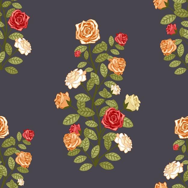 バラの伝統的なレトロなシームレスなベクトルパターンの壁紙 無料ベクター