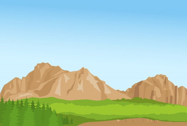 Wallpaper with summer mountains and florest Premium Vector