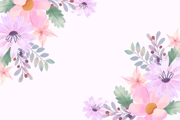 Wallpaper with watercolor flowers in pastel colors Free Vector