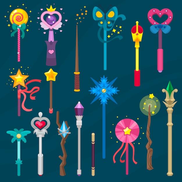 Wand vector magic stick miracle fantasy magician princess wizard Premium Vector