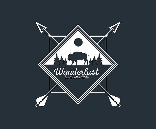 Wanderlust adventure logo Premium Vector