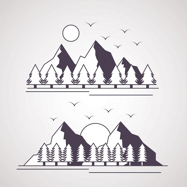 Wanderlust исследует пейзаж приключений Бесплатные векторы