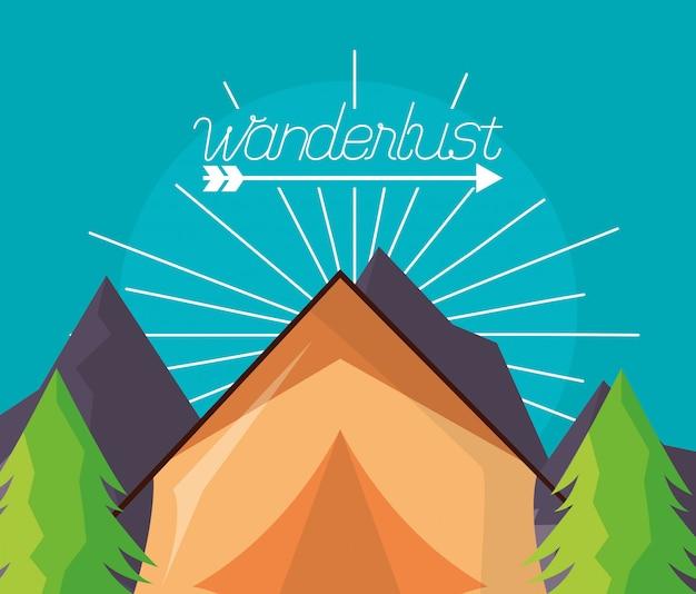 Wanderlust исследовать ландшафт Бесплатные векторы