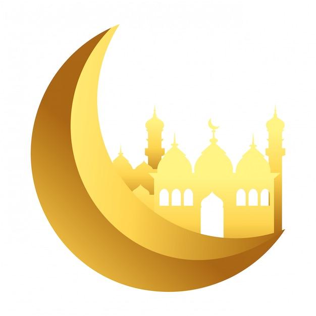 Waning moon with islamic building Premium Vector