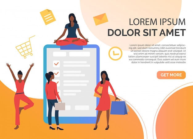 Want ad for shopping, fitness and working Free Vector
