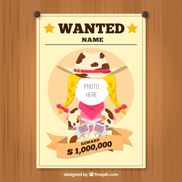 Wanted cowgirl template Free Vector