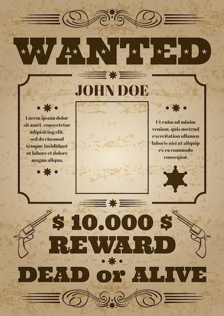 Wanted dead or alive western old vintage vector poster with distressed texture Premium Vector