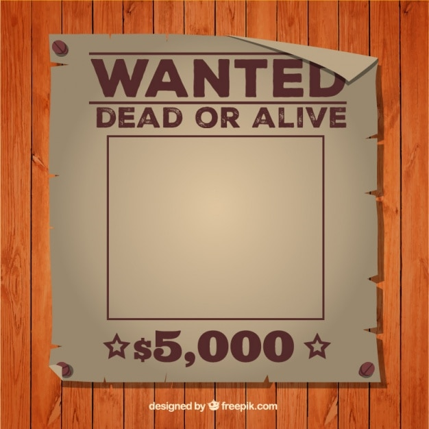 Wanted dead or alive poster template vector free download for Wanted dead or alive poster template free