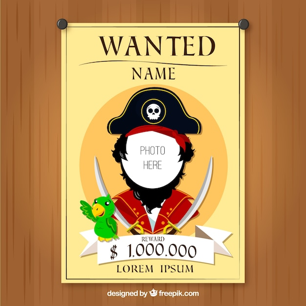 Wanted poster of pirate design vector free download for Wanted pirate poster template