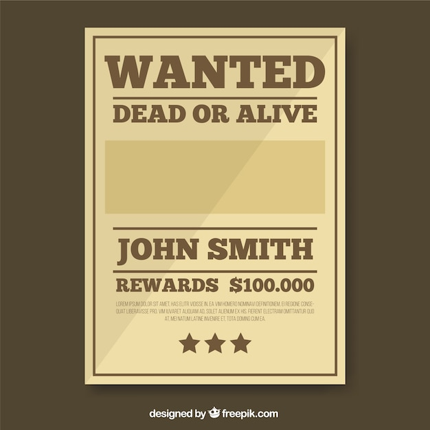 Wanted Poster Template In Brown Tones Vector  Free Download