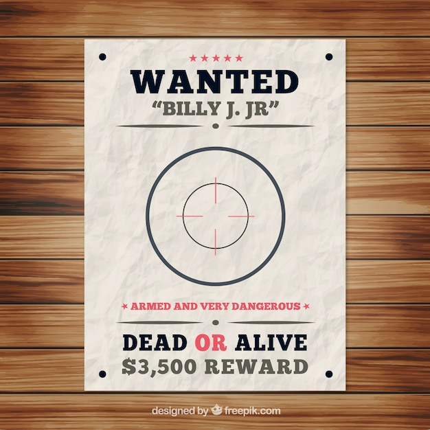 Wanted Poster Template With Bullseye Free Vector