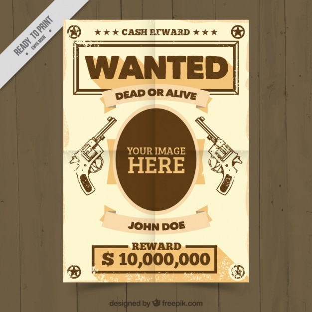 Wanted Poster Template With Handgungs Drawings Free Vector