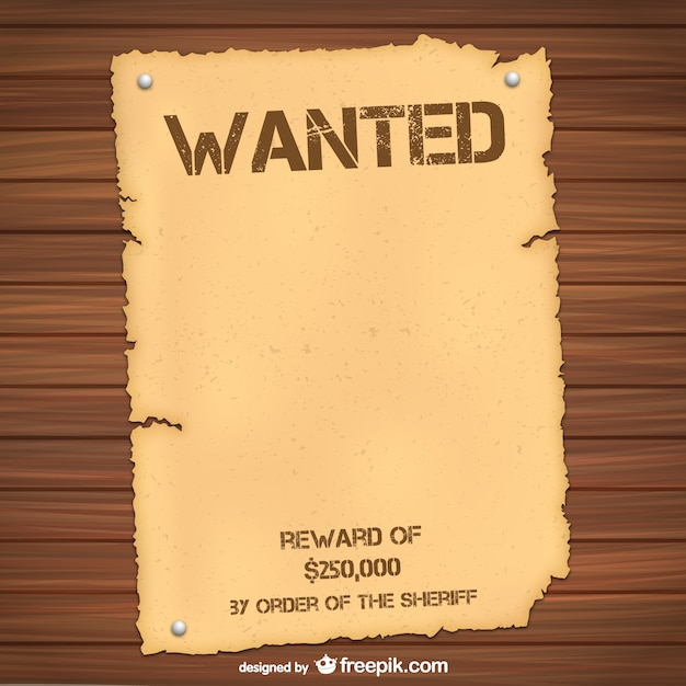 Wanted Poster Template Free Vector  Most Wanted Poster Templates