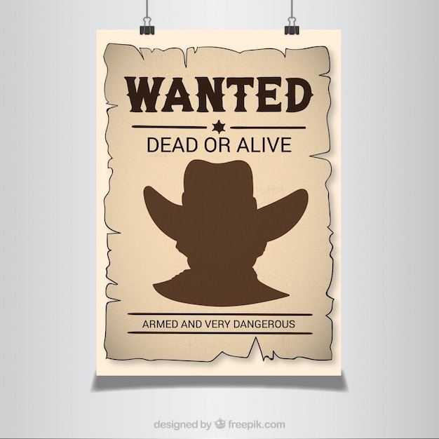 Wanted poster in western style Free Vector