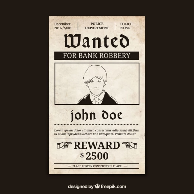 Wanted Poster With Criminal And Great Reward Free Vector  Criminal Wanted Poster