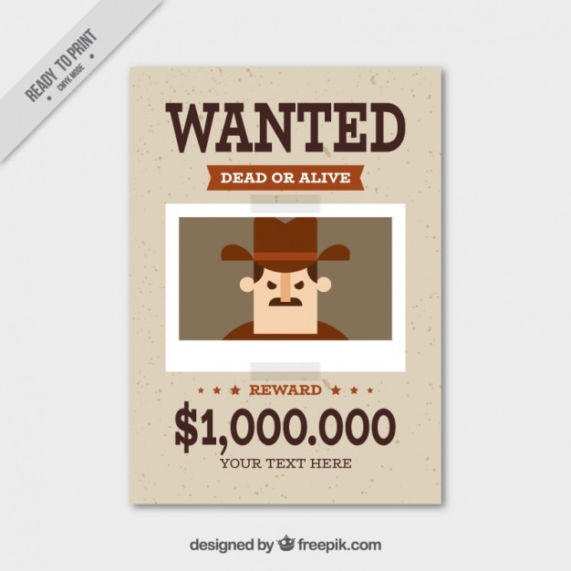 Wanted Poster With Flat Criminal And Great Reward Free Vector  Criminal Wanted Poster