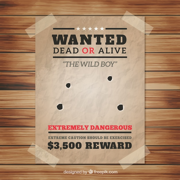 Wanted poster with four bullet holes Vector – Wanted Poster Free