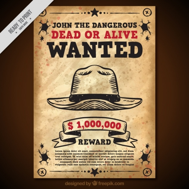 Wanted poster with hat in vintage style Free Vector