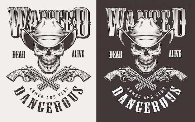 Wanted print with skull in vintage style Free Vector