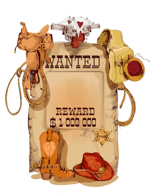 Wanted western vintage poster Premium Vector