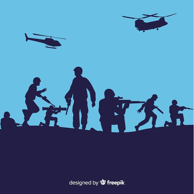 War background with silhouettes of soldiers Free Vector