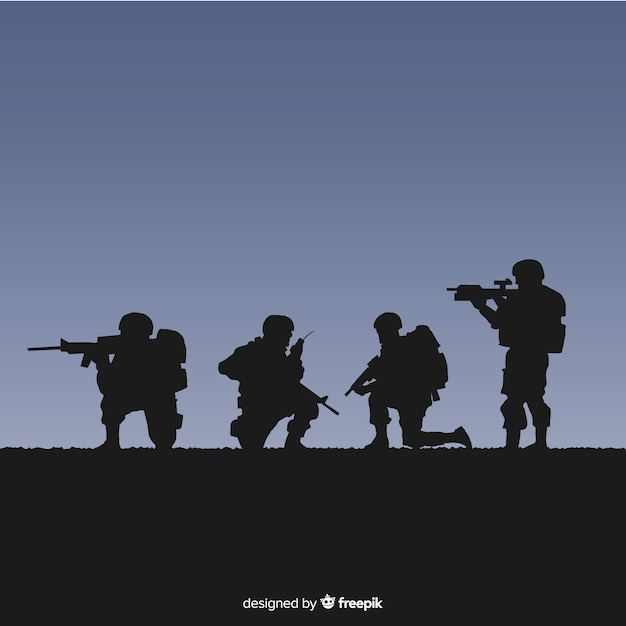 War background with silhouettes of soldiers Vector | Free Download