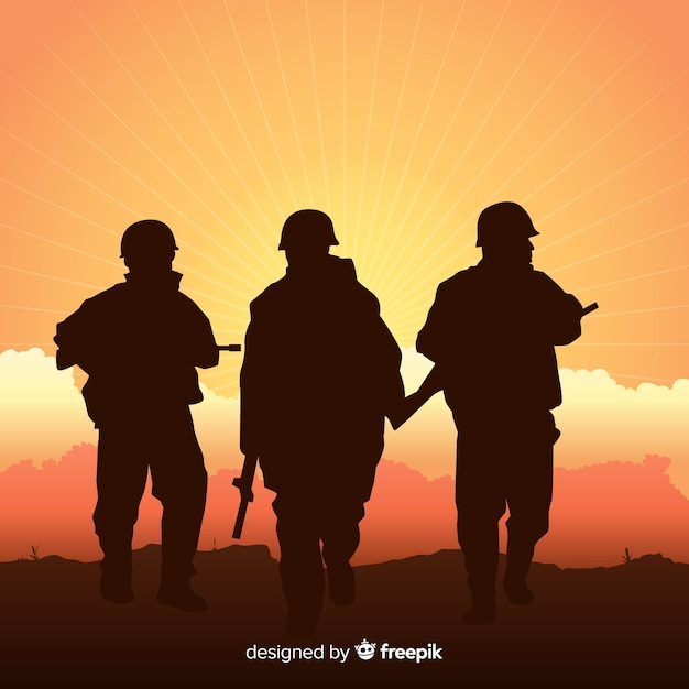 War Background With Silhouettes Of Soldiers Vector