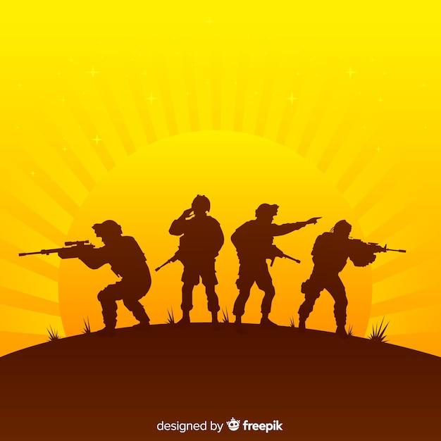 Sfondo di guerra con sagome di soldati Vettore gratuito