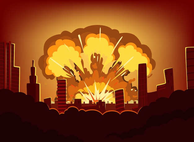 War and damages after big explosion in the city. monochrome urban landscape with burn sky after atomic bomb. nuclear radioactive armageddon, vector illustration Premium Vector