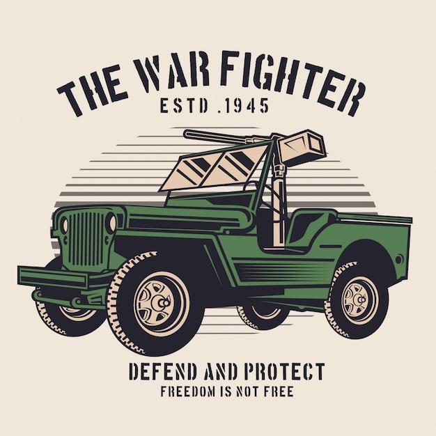 The war fighter jeep Premium Vector