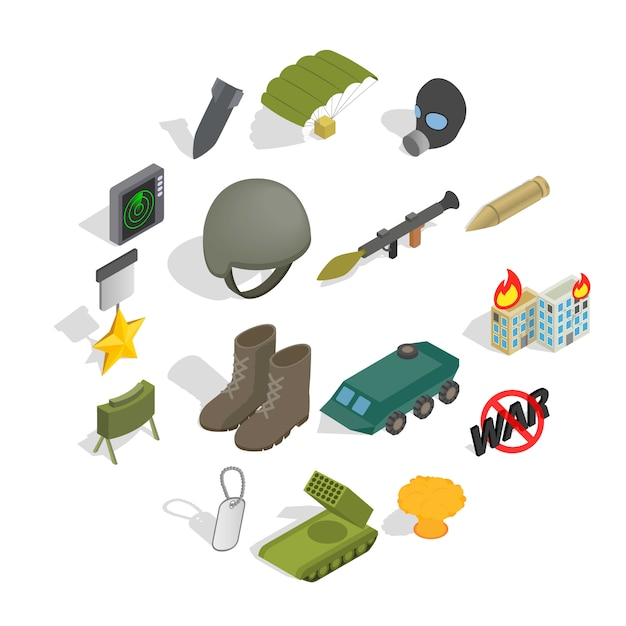 War icon set, isometric style Premium Vector