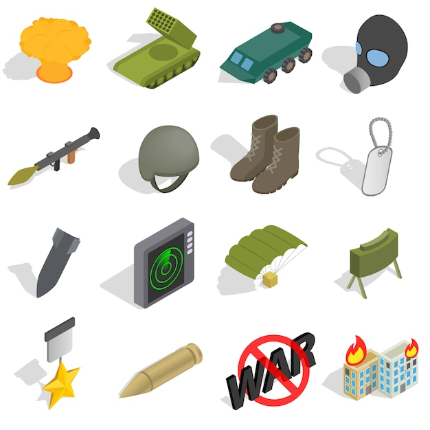 War icons set in isometric 3d style isolated on white background Premium Vector