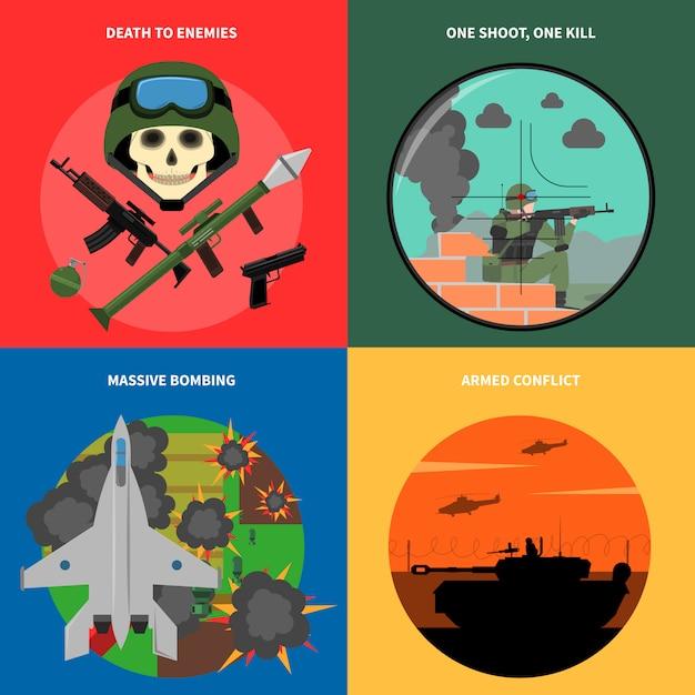 War icons set Free Vector
