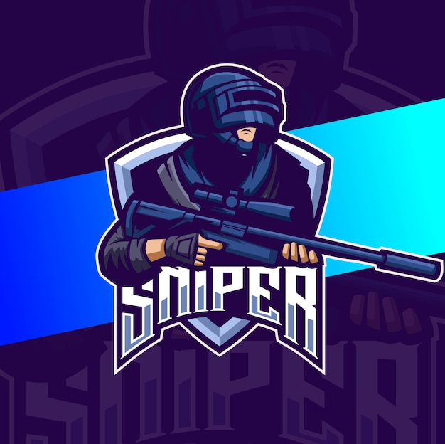 War sniper squad mascot esport logo design Premium Vector
