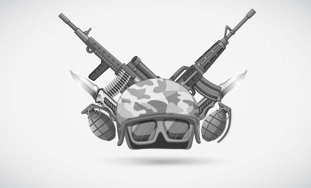 War theme with helmet and weapons Free Vector