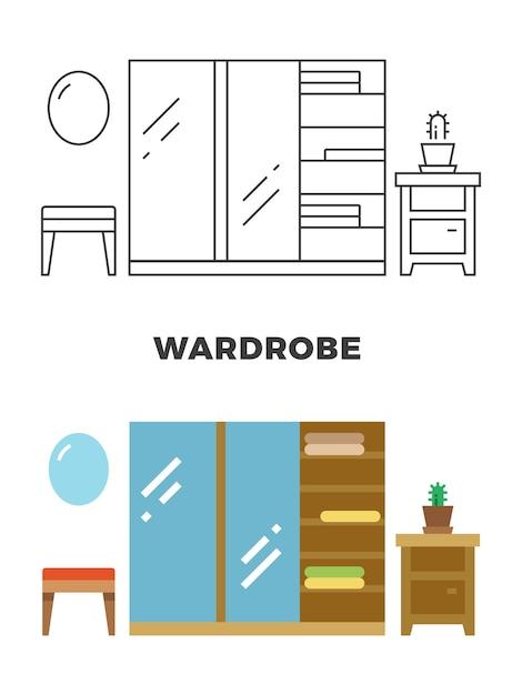 Дизайн концепции гардероба Premium векторы