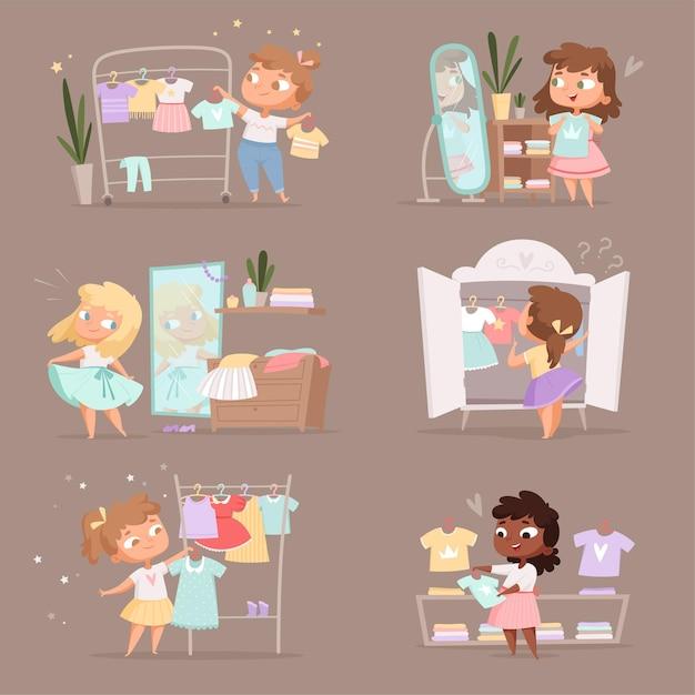 Гардероб девушки. родительская помощь в выборе одежды для детской раздевалки в иллюстрации шаржа на рынке. выбор девушки гардероба, платье на вешалке Premium векторы